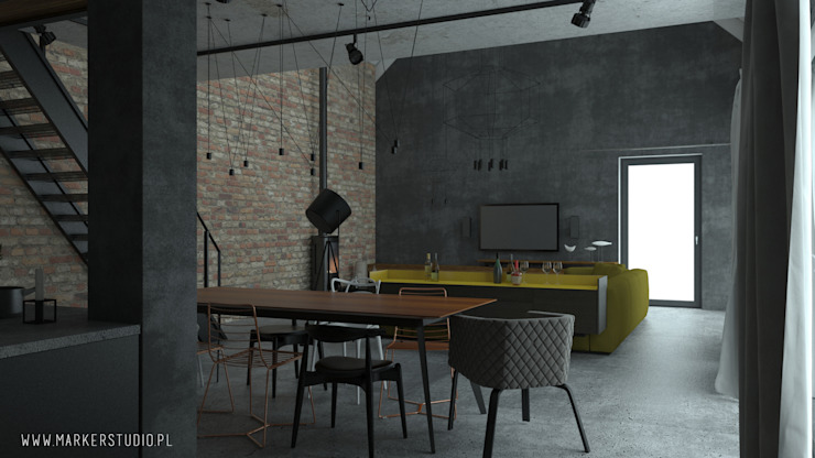 MArker Industrial style dining room