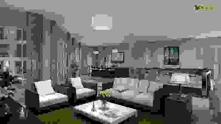 3D Interior Design for Club House Living Room & Kitchen: modern  by Yantram Architectural Design Studio, Modern