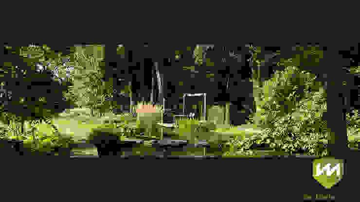 Luxe boerderijtuin met zwembad en vijver Landelijke tuinen van Van Mierlo Tuinen | Exclusieve Tuinontwerpen Landelijk