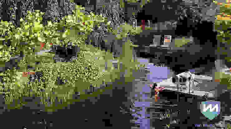 Natuurlijke zwemvijvertuin met buitenverblijf en sauna:  Tuin door Van Mierlo Tuinen | Exclusieve Tuinontwerpen,