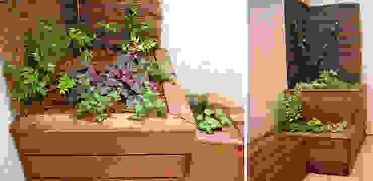 Bacs plantés en bois sur terrasse Constans Paysage Balcon, Veranda & Terrasse modernes