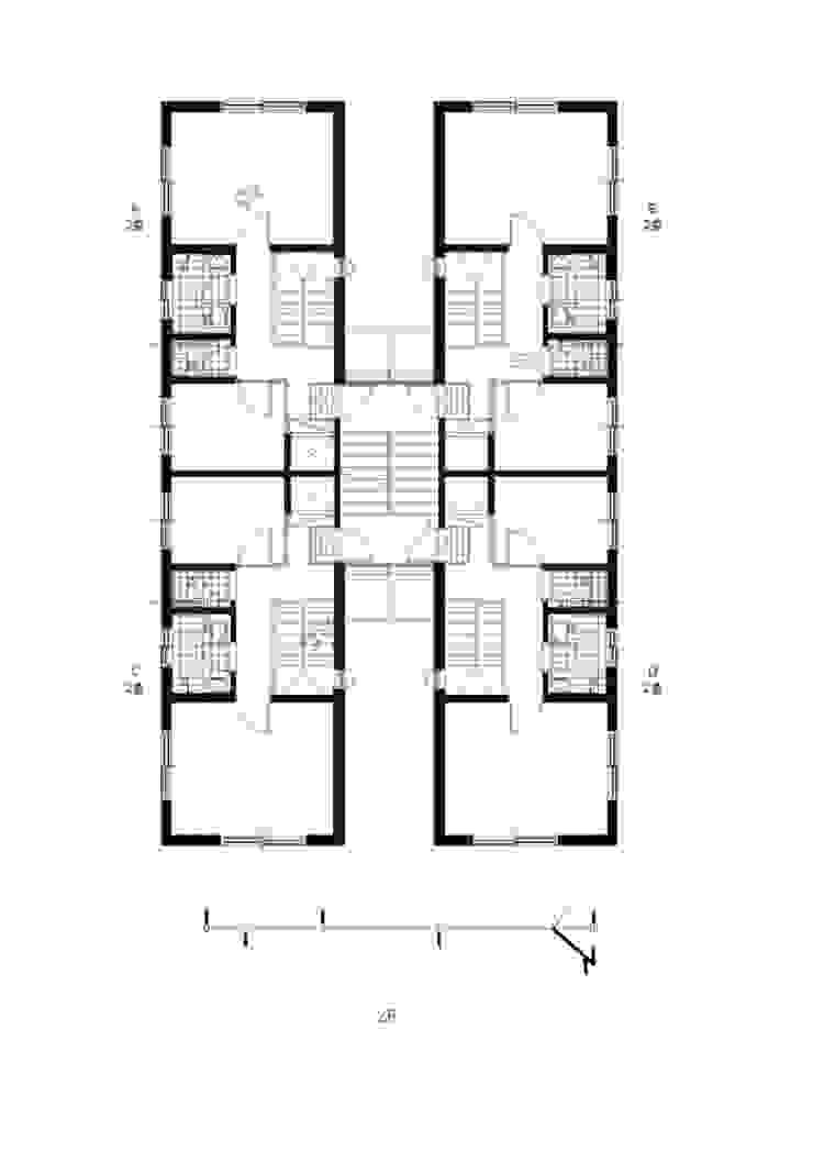 가구단위 2층평면도: 구름집 02-338-6835의 현대 ,모던