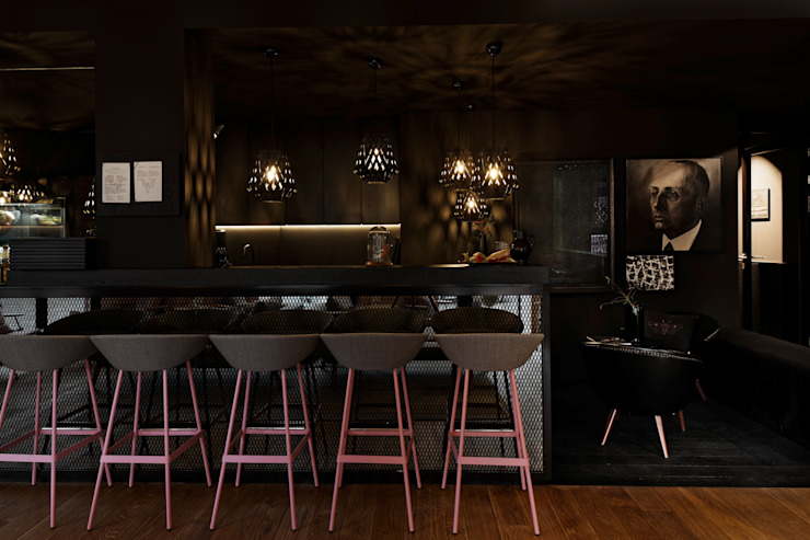 Bar im Wohnzimmercafé:  Wohnzimmer von FRANKEN\ARCHITEKTEN GMBH,Ausgefallen
