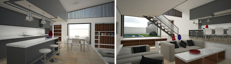 Zona Social Salas de estar modernas por PROJETARQ Moderno