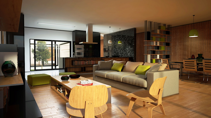Living room by PROJETARQ, Modern