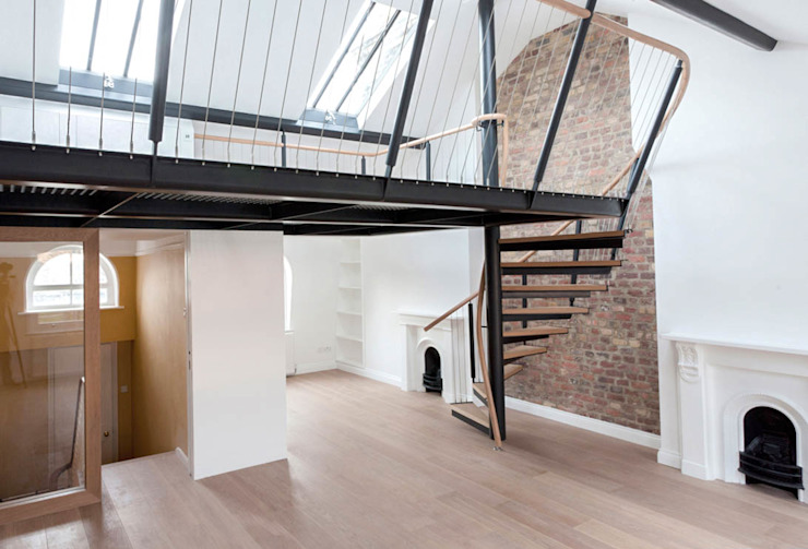 Spiral staircase to the mezzanine Railing London Ltd Modern corridor, hallway & stairs