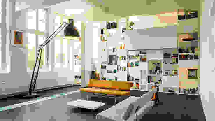 Interieur woning in school met XXL kast met taatsdeur, studie en nieuwe keuken Moderne woonkamers van Joep van Os Architectenbureau Modern