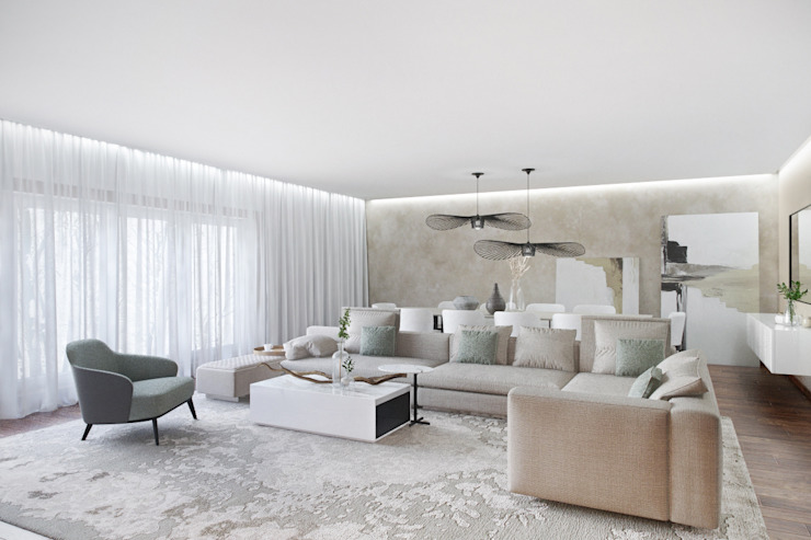 모던스타일 거실 by DZINE & CO, Arquitectura e Design de Interiores 모던