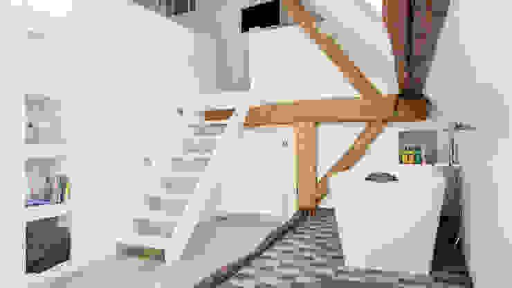 Herindeling woonboerderij met behoud van oude spanten, luxe woonkeuken en open slaapkamer met badkamer in zolder Moderne badkamers van Joep van Os Architectenbureau Modern