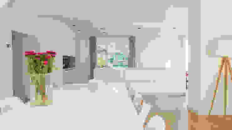 Herindeling woonboerderij met behoud van oude spanten, luxe woonkeuken en open slaapkamer met badkamer in zolder Moderne keukens van Joep van Os Architectenbureau Modern