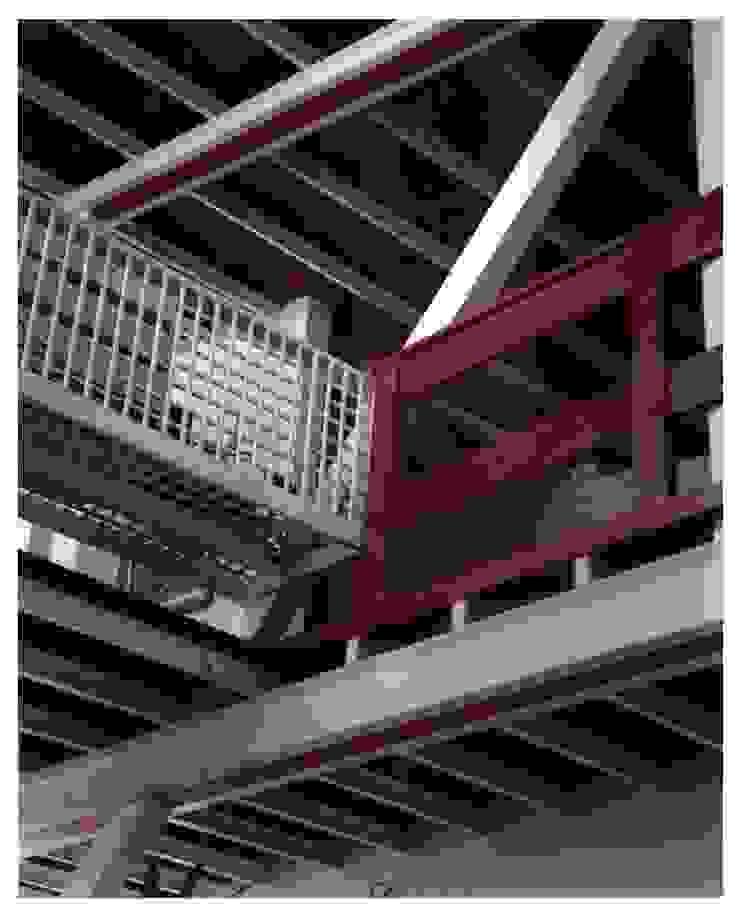 Visual de hall de entrada desde abajo Paredes y pisos de estilo industrial de R+P Industrial