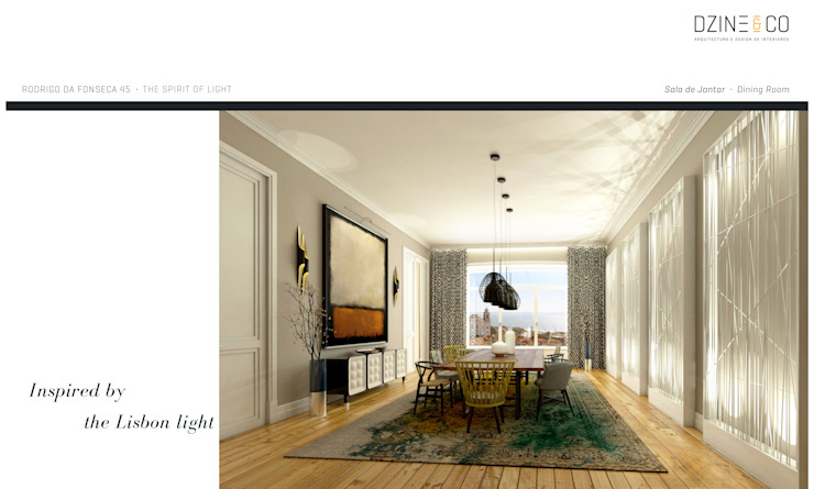 The Spirit of Light Salas de jantar modernas por DZINE & CO, Arquitectura e Design de Interiores Moderno
