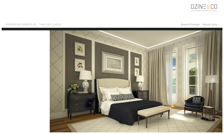 DZINE & CO, Arquitectura e Design de Interiores Classic style bedroom
