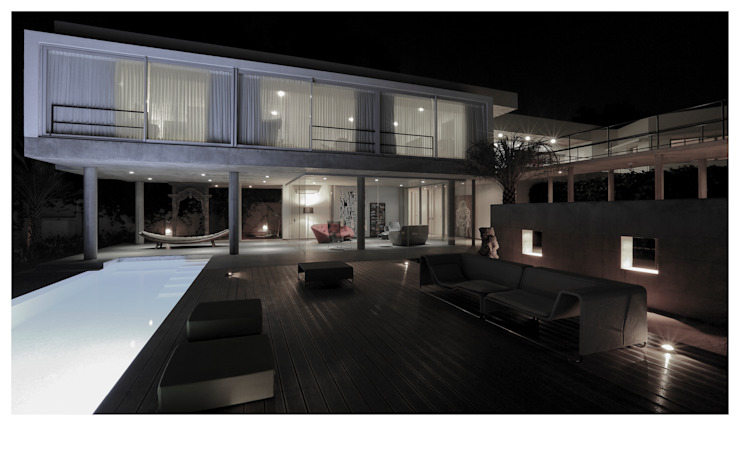 FROM LOWER DECK Minimalist houses by DDIR architecture studio Minimalist Glass