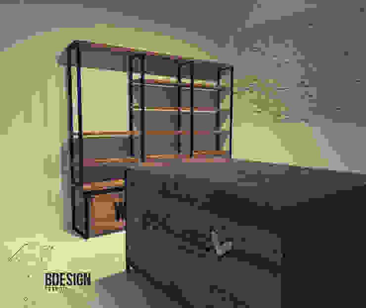 Distribución de espacio Estudios y despachos de estilo industrial de Estudio BDesign Industrial Madera maciza Multicolor