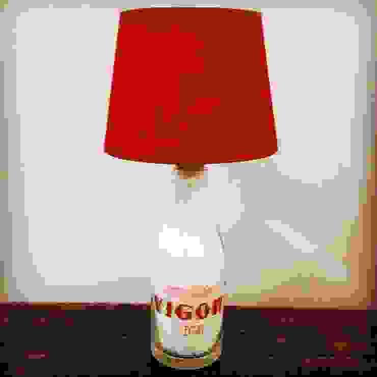 Candeeiro de mesa com garrafa de leite por 5L.CincoLitros Rústico Vidro