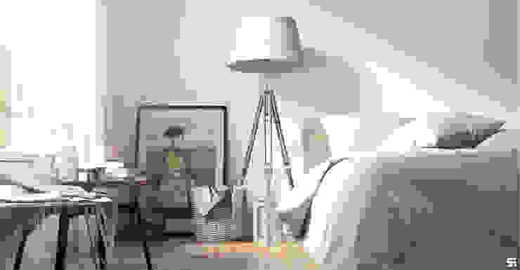 Dormitorios de estilo escandinavo de SF Render Escandinavo