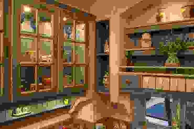 Ausgleichsregal in gemauerter Villa Medici Küche. Villa Medici - Landhauskuechen aus Aschheim Landhaus Küchen Massivholz Blau