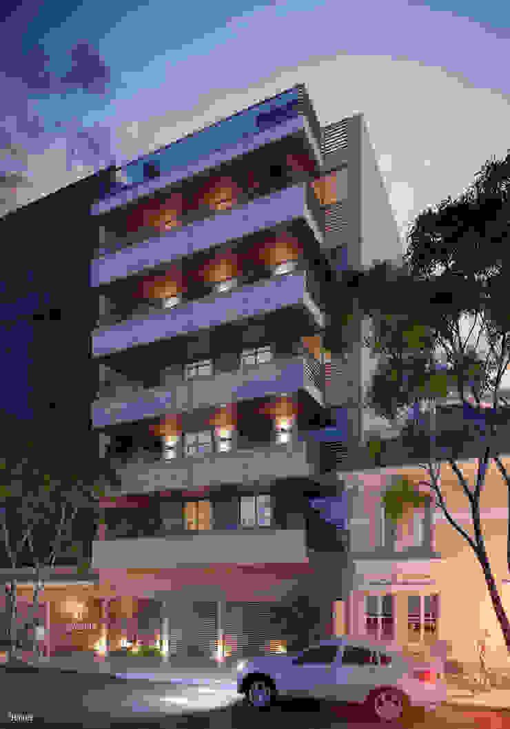 EDIFÍCIO CARAVELLE | Fachada Noturna Casas modernas por Tato Bittencourt Arquitetos Associados Moderno