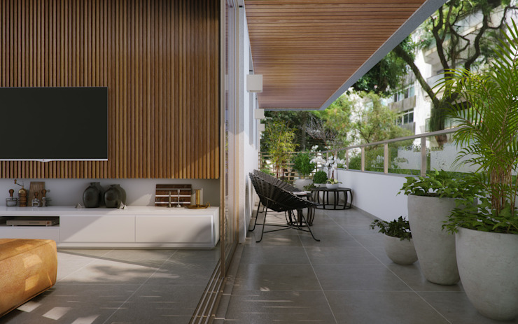 EDIFÍCIO CARAVELLE | Varanda Varandas, alpendres e terraços modernos por Tato Bittencourt Arquitetos Associados Moderno