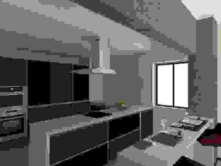 Edifício de Habitação em Carcavelos Cozinhas modernas por Projectos Arquitectura & 3D Moderno