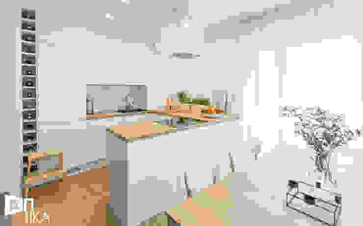 Realizacja projektu wnętrza mieszkania w Krakowie Nowoczesna kuchnia od TIKA DESIGN Nowoczesny