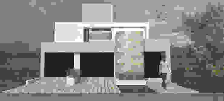 Fachada Principal Casas minimalistas de MLL arquitecta Minimalista Piedra