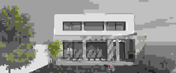 Fachada posterior Casas minimalistas de MLL arquitecta Minimalista Piedra