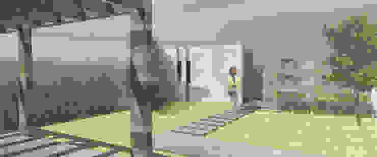 Fachada trasera Casas minimalistas de MLL arquitecta Minimalista Piedra