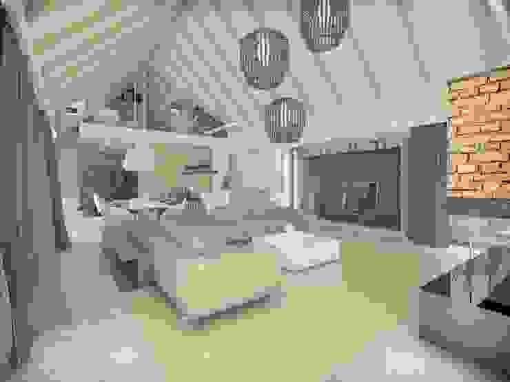 Dom energooszczędny przy ścianie lasu. Projekt domu + wnętrza: styl , w kategorii Salon zaprojektowany przez GRYMIN - TYBULCZUK ARCHITEKCI,Nowoczesny Drewno O efekcie drewna