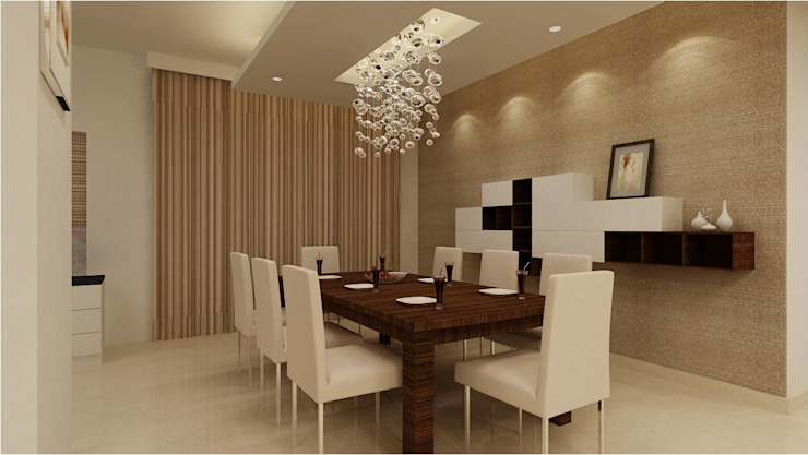 MANTRI ESPANA, BANGALORE. (www.depanache.in):  Dining room by De Panache  - Interior Architects