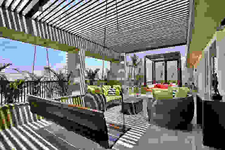 Nikhil patel residence Modern Balkon, Veranda & Teras Dipen Gada & Associates Modern
