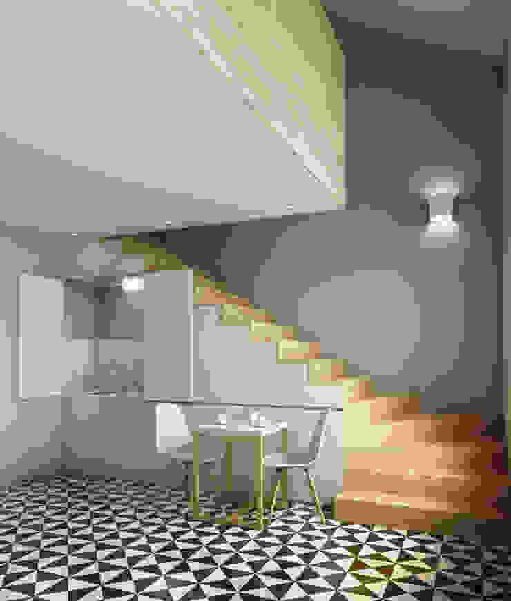 Recuperação do Antigo Colégio de Aldeia da ponte Salas de jantar minimalistas por David Bilo | Arquitecto Minimalista Madeira Acabamento em madeira
