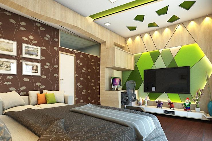 T.V. unit wall with Study table. Modern style bedroom by Ellipse design studio Modern