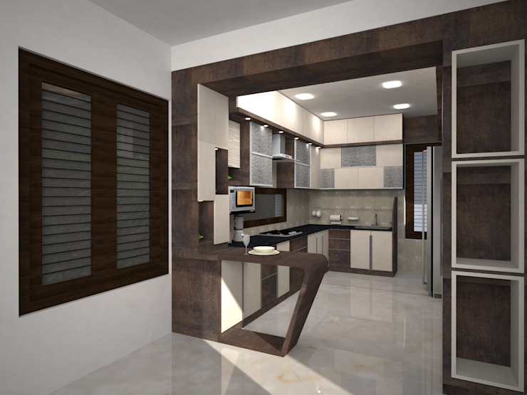 Mr.Ajith Residence MAPLE TREE Modern kitchen Brown