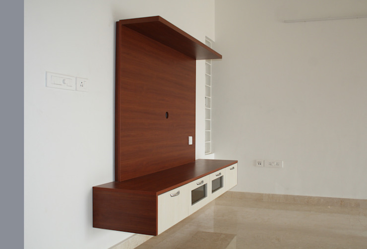 Living TV Ashpra interiors Living roomTV stands & cabinets Wood effect