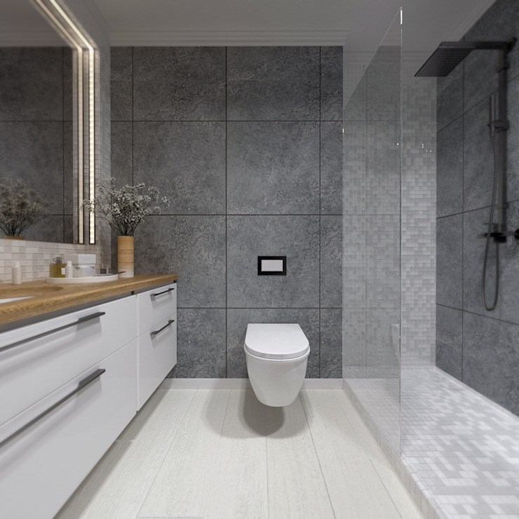 A R C H I T I Z M Industrial style bathroom Grey