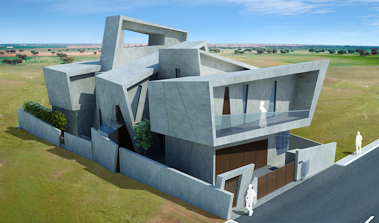 Offcentered Architects Casas modernas Concreto Gris