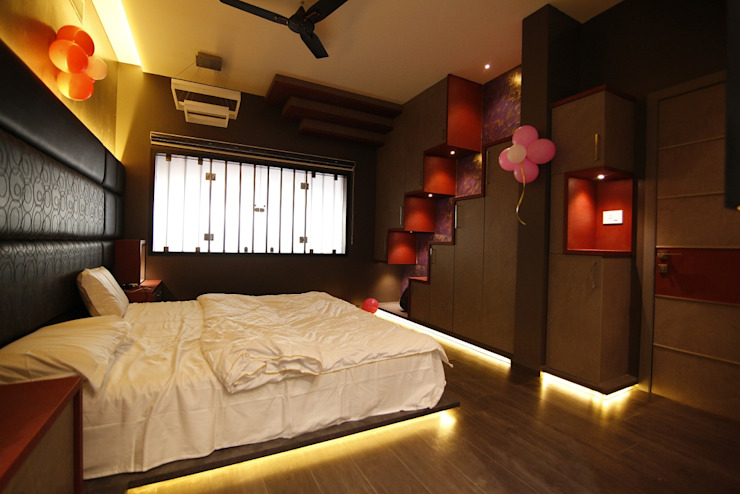 Residential interiors for Mr.Siraj at Chennai Offcentered Architects Modern style bedroom