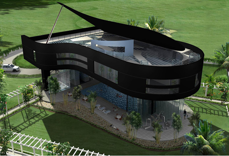Proposed Musical residence at Chennai Eclectic style houses by Offcentered Architects Eclectic