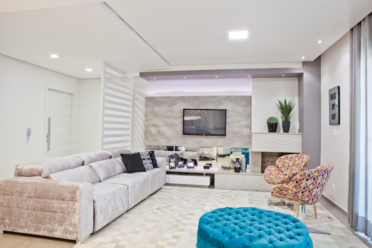 Salas de estilo  por Tumelero Arquitetas Associadas, Moderno