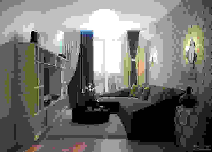 """Дизайн гостиной в современном стиле квартире в ЖК """"Большой"""" Гостиная в стиле минимализм от Студия интерьерного дизайна happy.design Минимализм"""