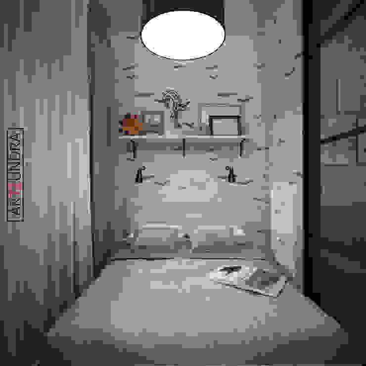 Скандинавский LOFT в 1-комнатной квартире с проектором в п. Комунарка Спальня в скандинавском стиле от дизайн-бюро ARTTUNDRA Скандинавский