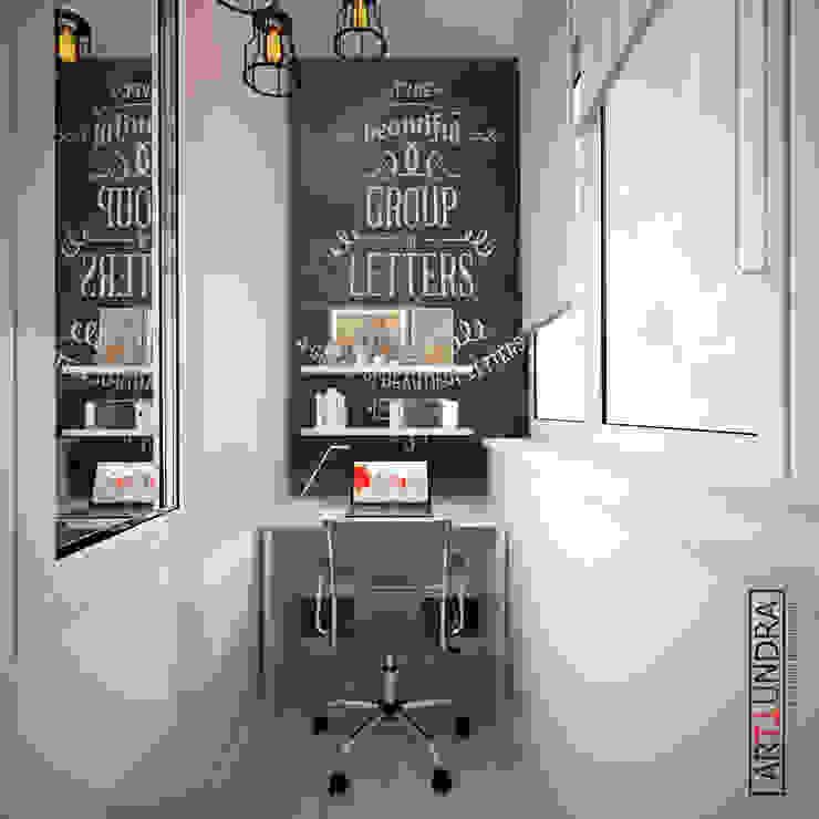 Скандинавский LOFT в 1-комнатной квартире с проектором в п. Комунарка Балкон в скандинавском стиле от дизайн-бюро ARTTUNDRA Скандинавский