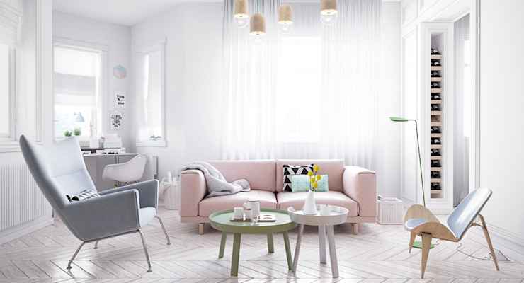 Scandinavian style living room by арх бюро Edifico Scandinavian