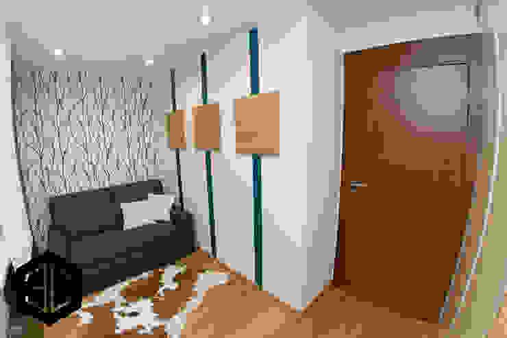 GABINET Z KANAPĄ DLA GOŚCI- PO REMONCIE Nowoczesne domowe biuro i gabinet od 3D STUDIO Nowoczesny