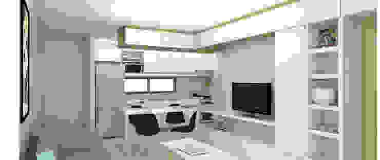 Comedor departamento de un dormitorio. Línea SoHo1 de campos complementarios Moderno Derivados de madera Transparente