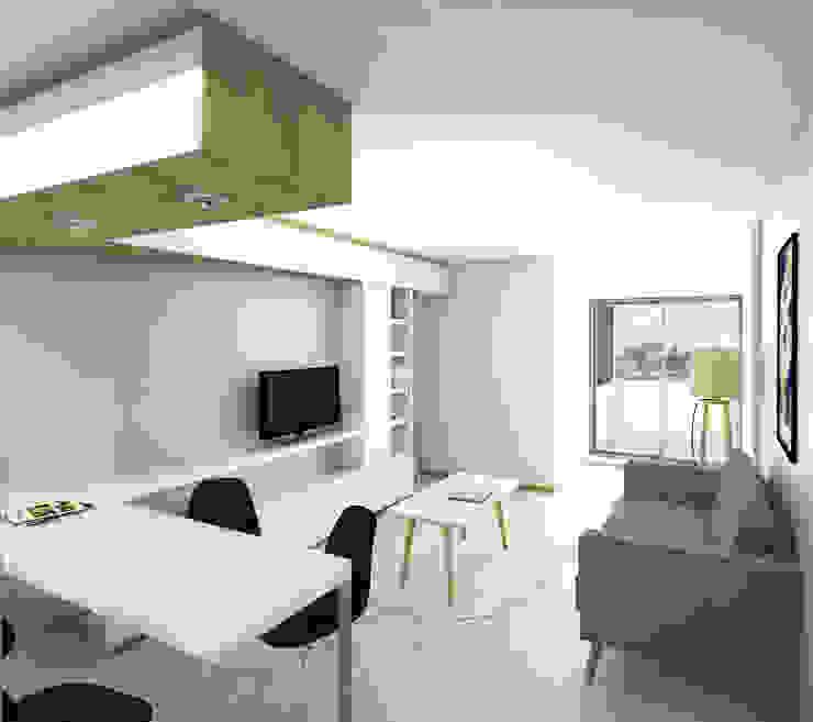 Living departamento de un dormitorio. Línea SoHo1 de campos complementarios Moderno Derivados de madera Transparente