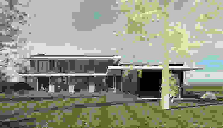 Achtergevelaanzicht moderne woning met zwembad. Moderne huizen van ArchitectenGilde Modern Steen