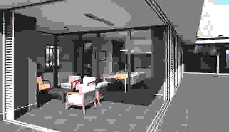 Veranda met buitenhaard voorzien van schuifpanelen. Moderne balkons, veranda's en terrassen van ArchitectenGilde Modern Hout Hout